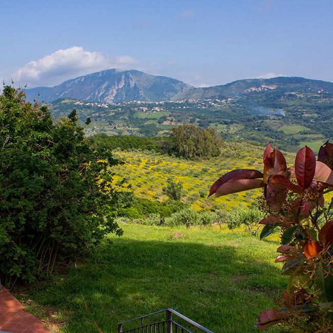 Veduta dall'agriturismo sul Monte Bulgheria e su Capo Palinuro